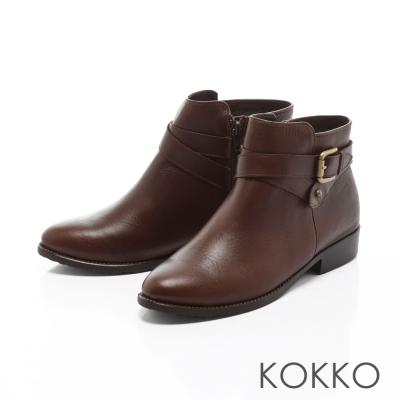 KOKKO-名品質感交叉繞踝牛皮短靴-焦點咖