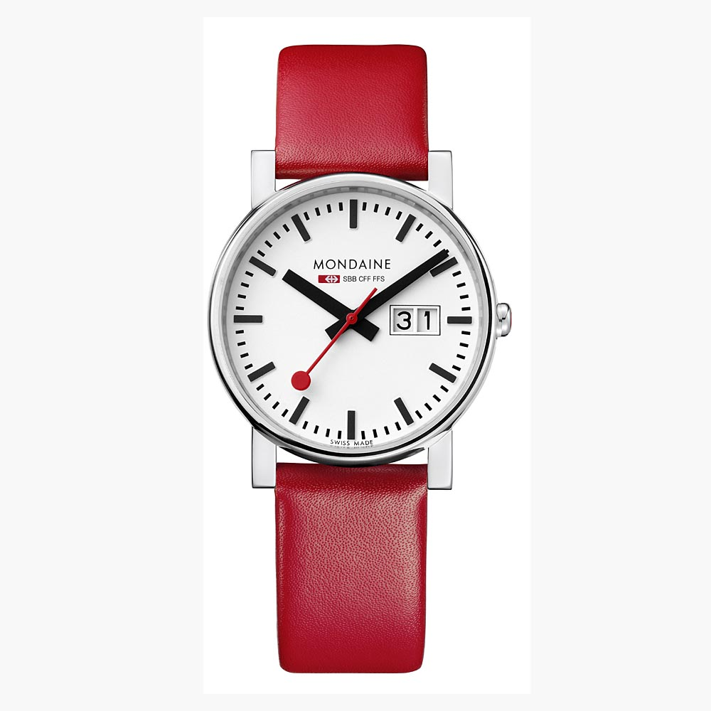 MONDAINE 瑞士國鐵時光走廊大視窗經典女錶-白/30mm