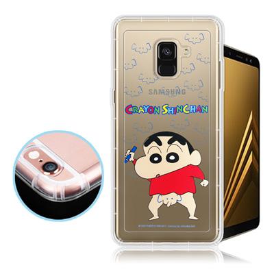 蠟筆小新正版 Samsung Galaxy A8+(2018) 透明彩繪空壓保護...