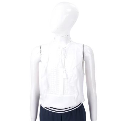 Michael Kors 白色織花穿繩領結無袖雪紡上衣