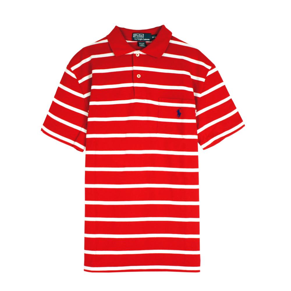 Ralph Lauren 小馬口袋條紋POLO衫(紅白)