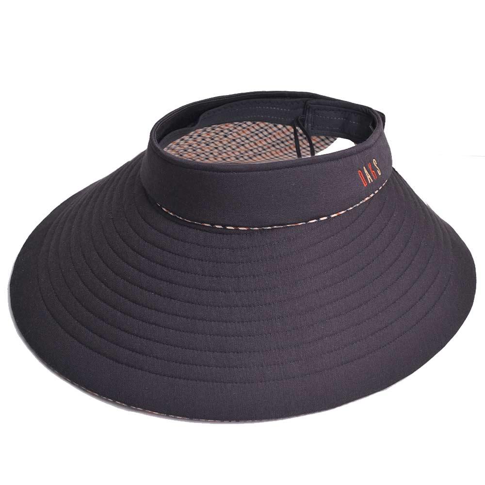 DAKS 經點品牌LOGO刺繡運動型可收式大帽緣遮陽帽(黑色/內裡卡其格)