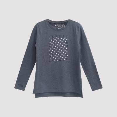 Hang Ten - 女裝 - 有機棉 TARGET圖章T恤 - 灰