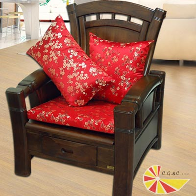 【凱蕾絲帝】梅花三弄~實木椅專用緞面記憶聚合坐墊(54*56CM)4入