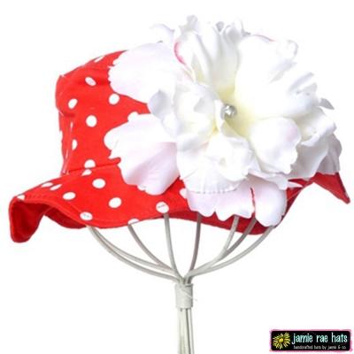Jamie Rae 紅底白點點白牡丹款小女童遮陽帽