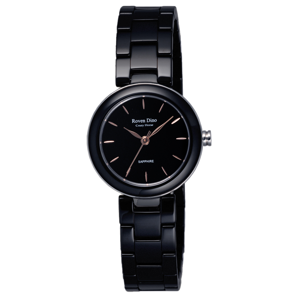 Roven Dino羅梵迪諾   夜明玉簡約設計時尚女錶-黑/27mm