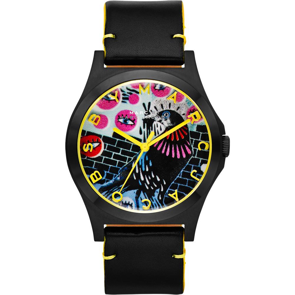Marc Jacobs Holiday Henry 塗鴉藝術時尚腕錶-黑/40mm