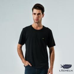 【LACHELN】COOLMAX彈性圓領衫-黑色(L62MA04)