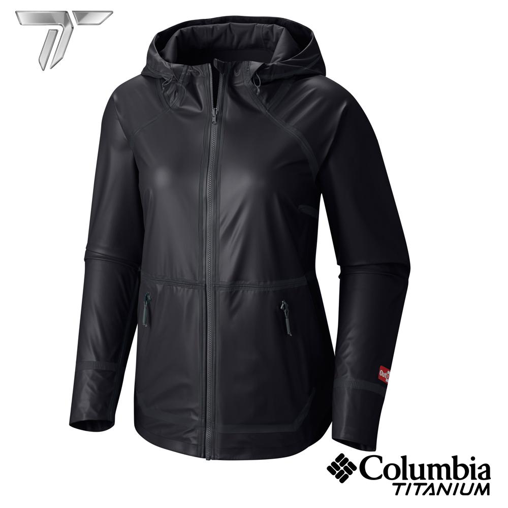 Columbia 哥倫比亞 女-鈦OD連帽防水雙面外套-黑色-URR10380BK