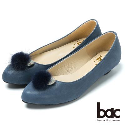 bac時尚品味  水鑽毛球真皮低跟鞋-藍色