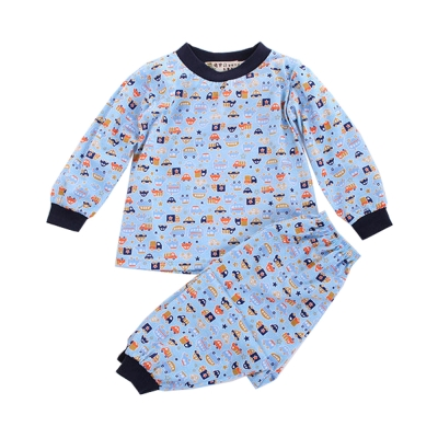 薄長袖汽車印花居家套裝-藍-k60134