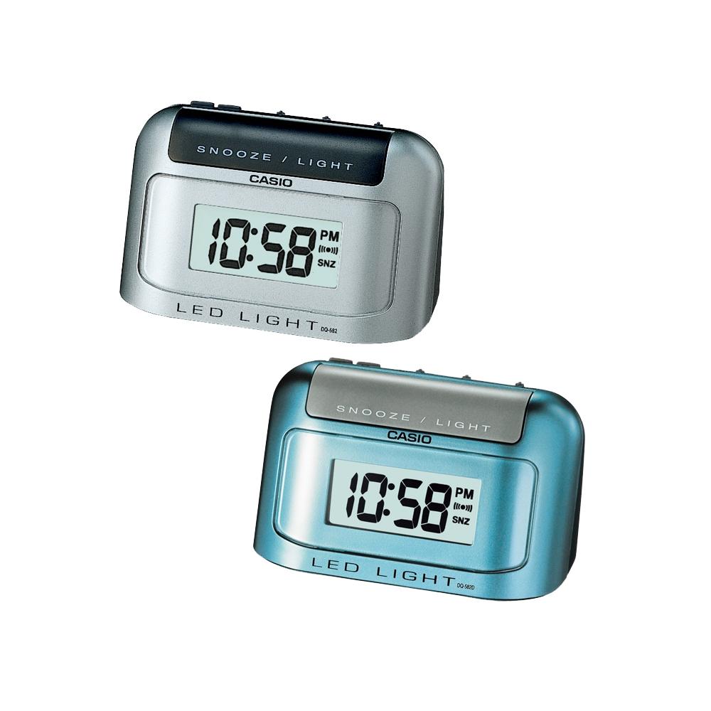 CASIO  彈殼型電子鬧鐘(DQ-582D)-藍、灰2色