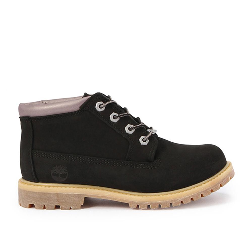 Timberland 女款黑色正絨面皮革搭夜光鞋領低筒靴