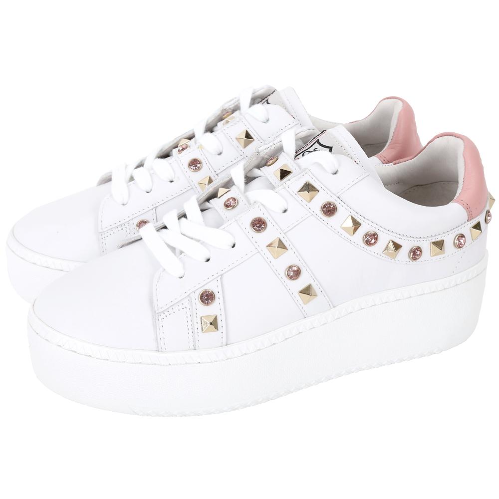 ASH Clone 鑽飾鉚釘牛皮綁帶厚底休閒鞋(白色)