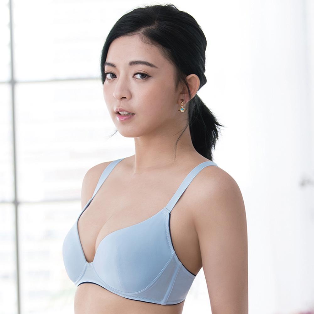 莎薇-時尚動起來D罩杯無鋼圈內衣(藍)冰涼紗-減壓寬肩帶