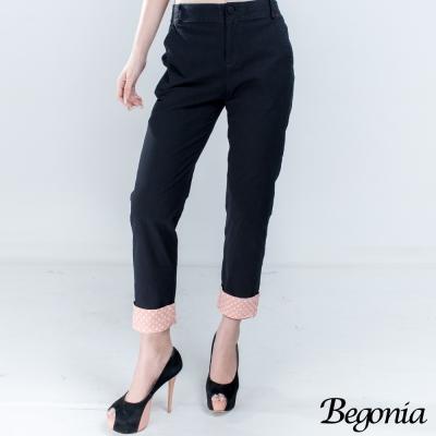 Begonia 配色點點彈性棉麻休閒褲(共二色)