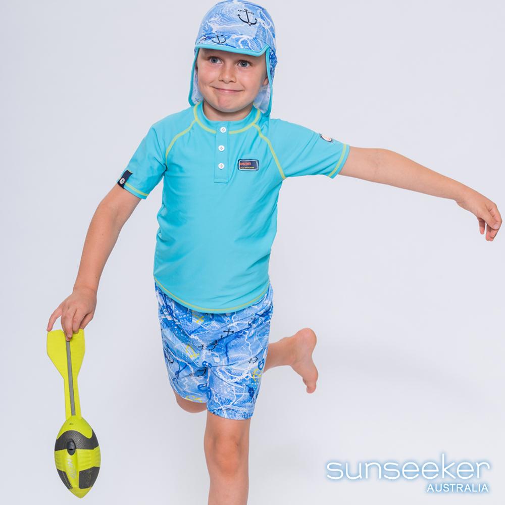 澳洲Sunseeker抗UV防曬短袖泳衣+泳褲+防曬泳帽-小男童三件式/海軍水藍
