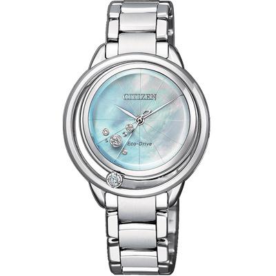 CITIZEN L系列光動能星星閃耀晶鑽腕錶(EW5520-84D)-銀色/32.5mm