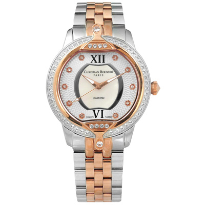 CHRISTIAN BERNARD 伯納錶 白剛玉真鑽不鏽鋼手錶-銀x鍍玫瑰金/36mm