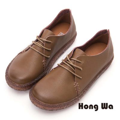 Hong Wa 綁帶款牛皮寬楦包鞋- 綠咖