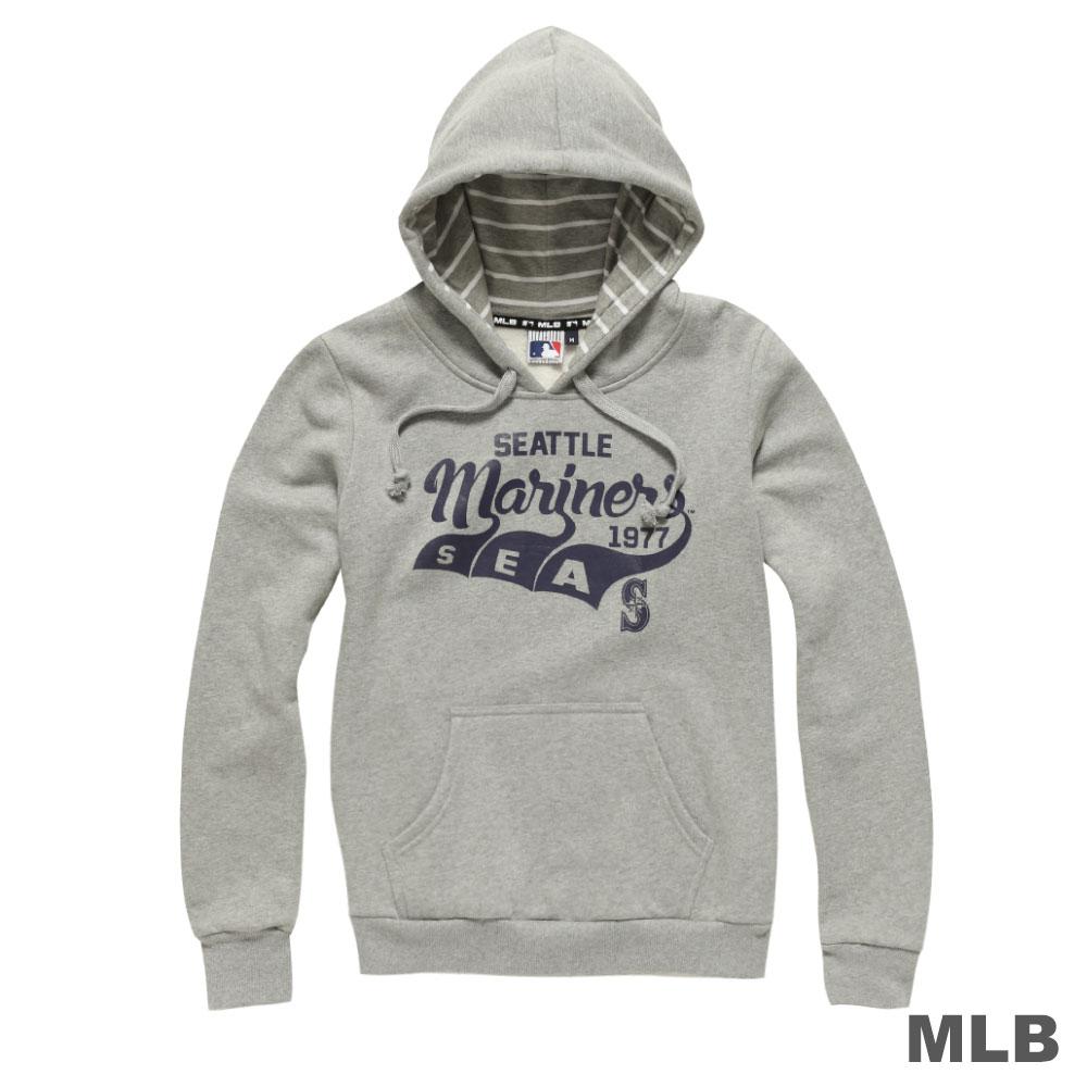 MLB-西雅圖水手隊Q版草寫連帽長袖厚T恤-麻灰 (女)