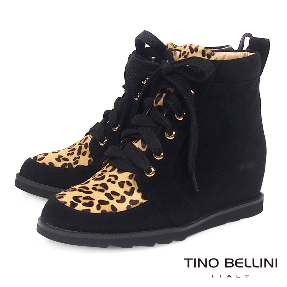 Tino Bellini全真皮豹紋內增高綁帶休閒靴_黑