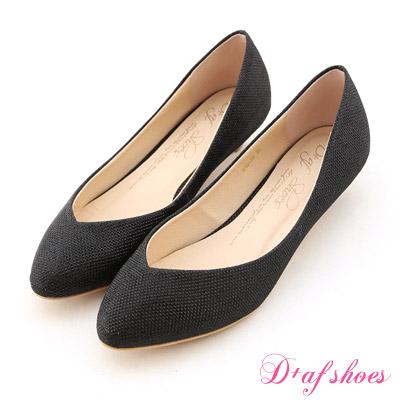 D+AF 星星指標‧金蔥閃料小V口尖頭低跟鞋*時尚閃黑