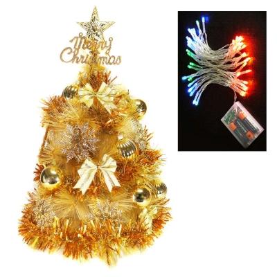 台製2尺(60cm)金色松針葉聖誕樹(雙金色)+50燈LED電池燈四彩