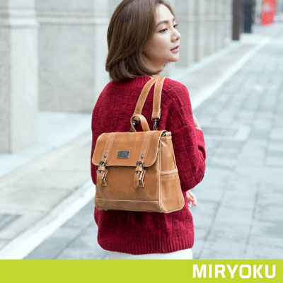MIRYOKU-經典復古皮革系列 / 活力個性2way包-駝