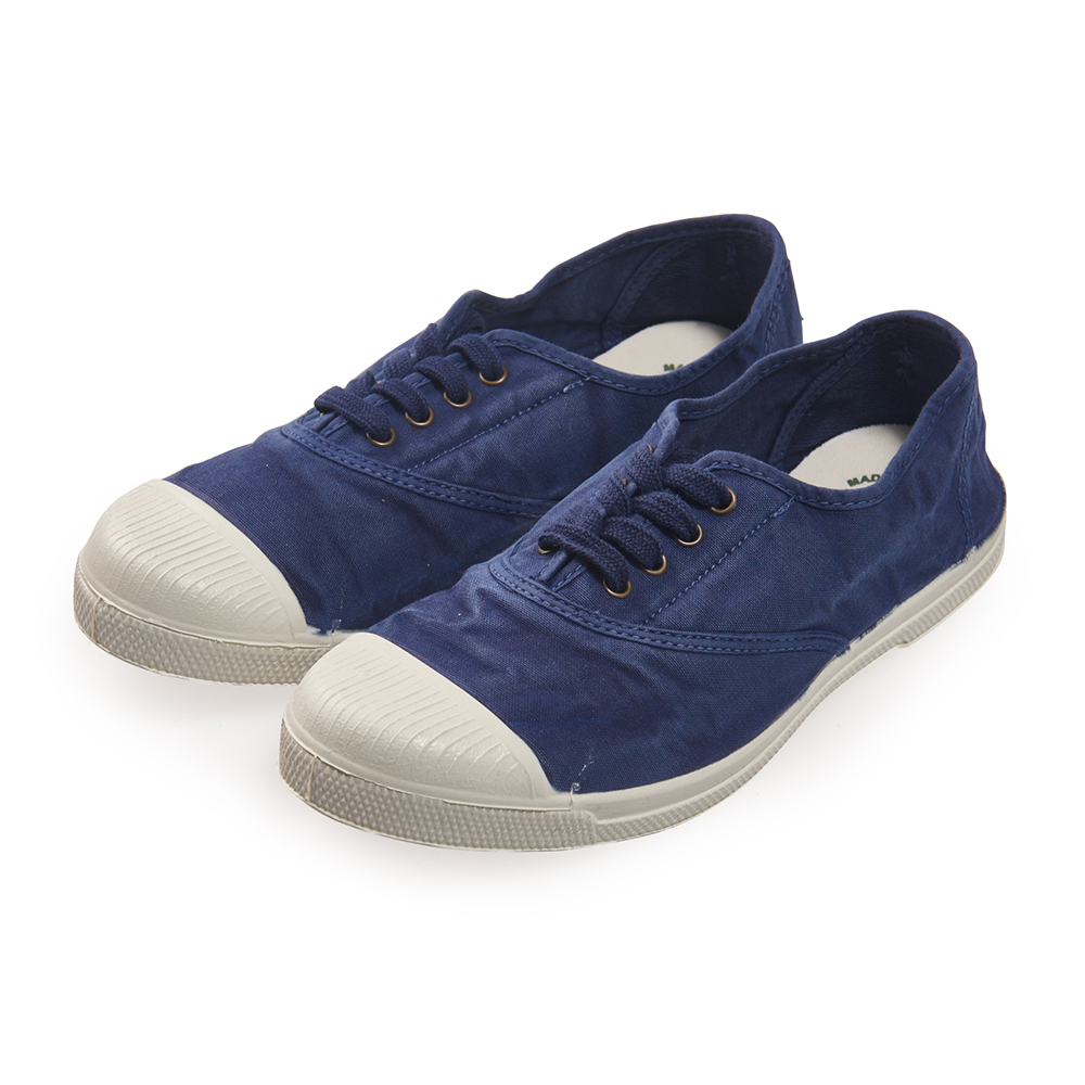(女)Natural World 西班牙休閒鞋 刷色4孔綁帶基本款*藍色