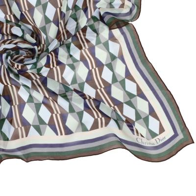 Christian Dior 幾何菱格紋大領巾-藍綠