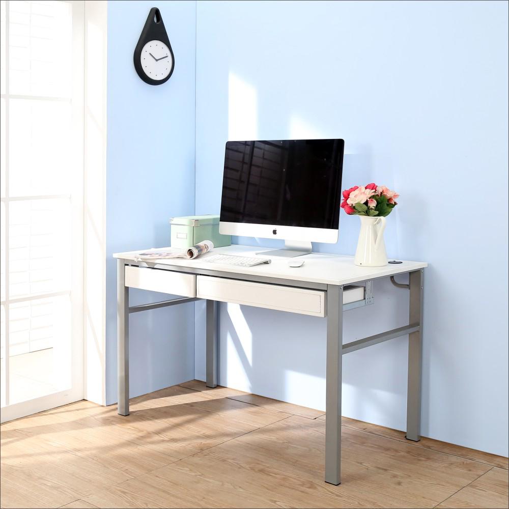 BuyJM低甲醛仿馬鞍皮120公分雙抽屜穩重型工作桌-DIY
