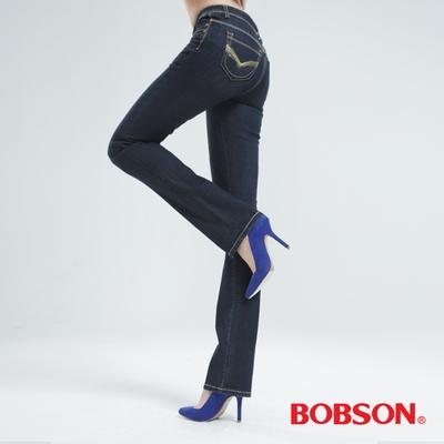 BOBSON 蔥刺繡鑽飾直筒褲-深藍 8031-52