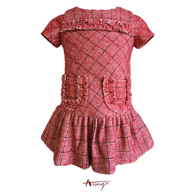 Annys聖誕小香風格紋雙口帶洋裝*7619紅