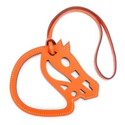 HERMES Paddock Cheval Veau Swift 馬頭雙色鏤空吊飾(橙色)