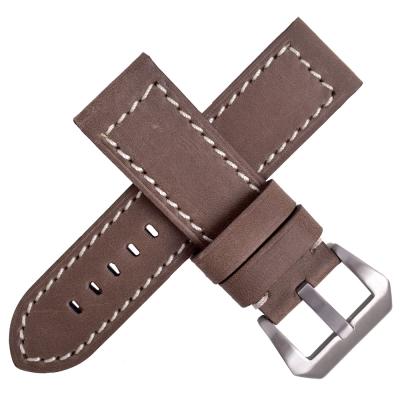 Panerai 沛納海/軍錶代用真皮錶帶-咖啡/車白線