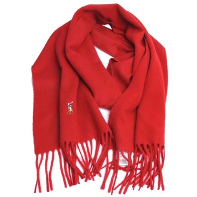 RALPH LAUREN POLO 彩色小馬刺繡LOGO素面義大利製羊毛圍巾(紅)