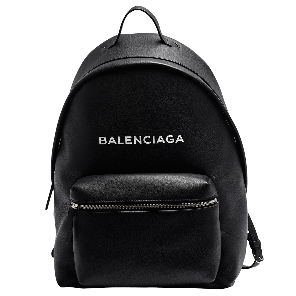 BALENCIAGA 經典Everyday系列品牌字母LOGO小牛皮拉鍊手提/後背包(黑)BALENCIAGA