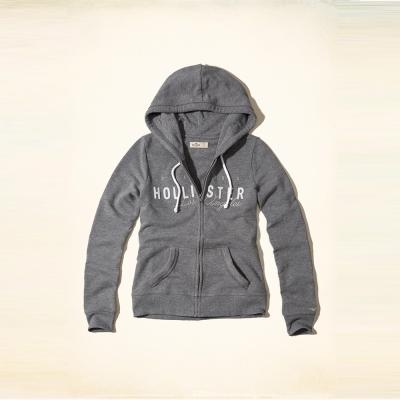 Hollister 經典草寫文字設計連帽外套(女)-灰色 HCO
