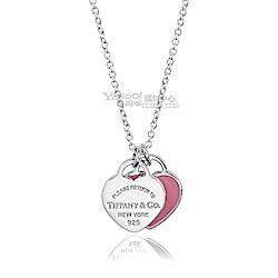 Tiffany&Co. 粉紅琺瑯雙心墜飾純銀項鍊