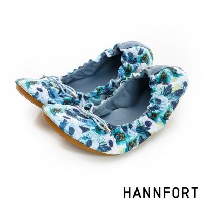 HANNFORT FLEX360綻放花季折疊芭蕾平底鞋-女-夏夜藍