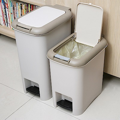 創意達人 凱米雙用腳踏垃圾桶大+中 (2入組)