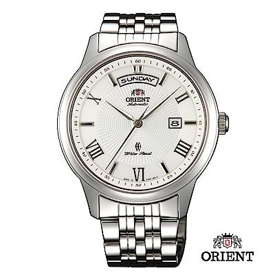 ORIENT 東方錶 WILD CALENDAR系列 寬幅日曆機械錶 鋼帶款 白色