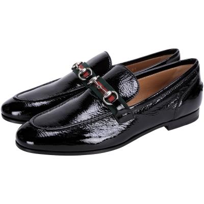 GUCCI Horsebit 經典馬銜織帶拼接漆皮樂福鞋(黑色)