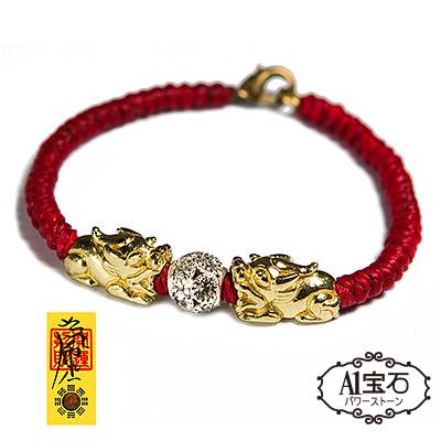 金色貔貅蠟繩晶鑽紅線手鍊 A1寶石 含開光
