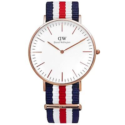 DW Daniel Wellington 經典時尚美國旗幟尼龍腕錶-白x玫瑰金/40mm