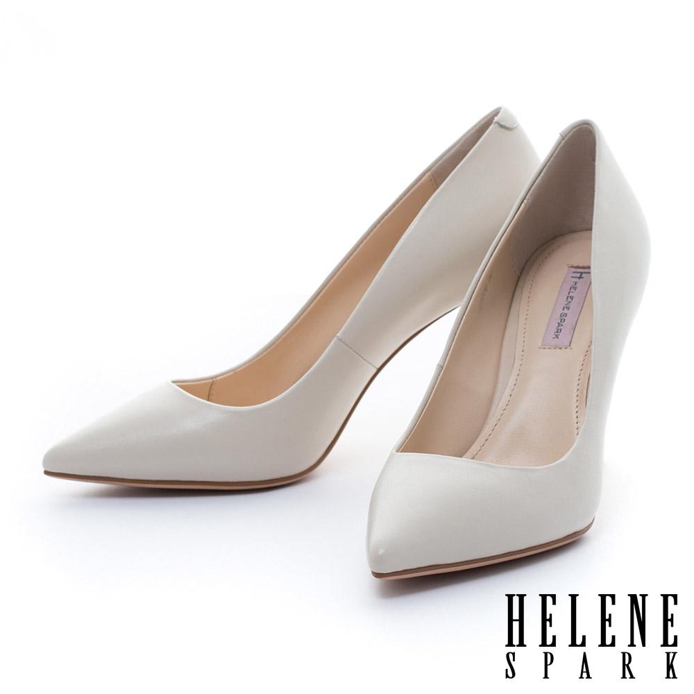 HELENE SPARK 金屬電鍍球跟造型羊皮美型尖頭高跟鞋-米