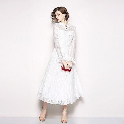 白色立領繫帶淑女蕾絲長袖洋裝M~2XL-M2M