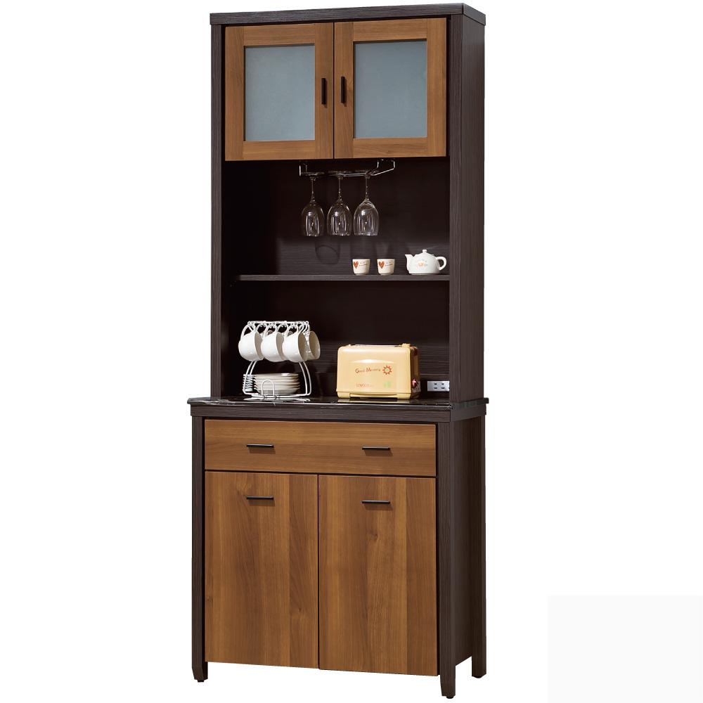 品家居 克莉絲2.7尺雙色石面收納餐櫃組合(上+下座)