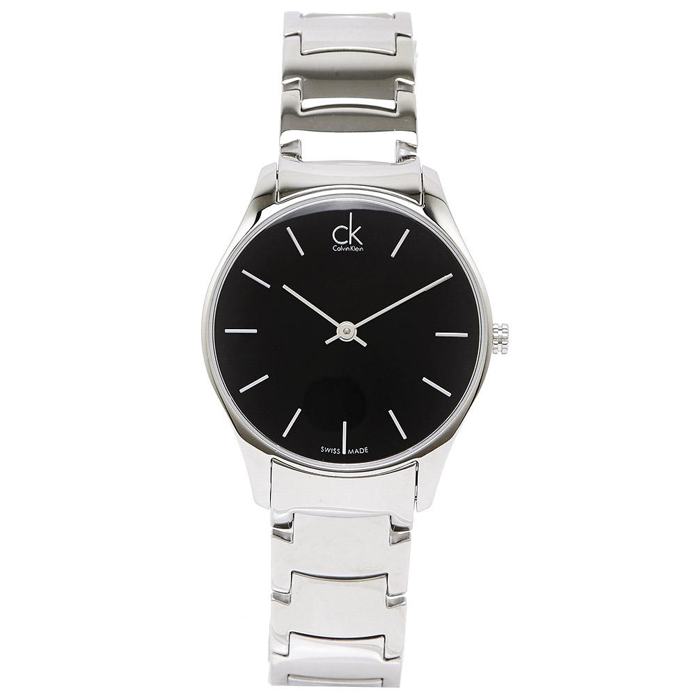 CK Calvin Klein Classic 雅痞調性極簡刻度中性腕錶-黑/32mm
